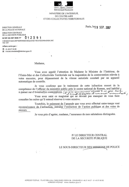 modele lettre a l u0026 39 officier du ministere public